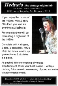 Katy Carr plays at Hedna's Vintage 5th February the Stables Milton Keynes