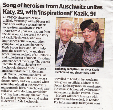 Katy Carr in Evening Standard 6th April 2011