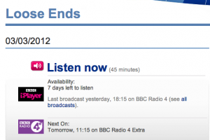 Listen again to Katy Carr on Loose Ends 3rd March 2012