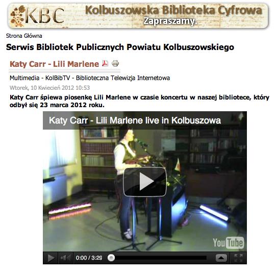 Katy Carr śpiewa piosenkę Lili Marlene w czasie koncertu w naszej bibliotece, który odbył się 23 marca 2012 roku.