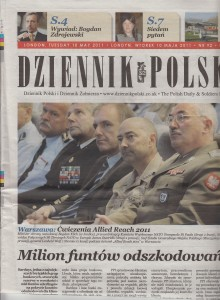 Katy Carr in DZIENNIK Polski 10th May 2011 Katy Carr on Front Page