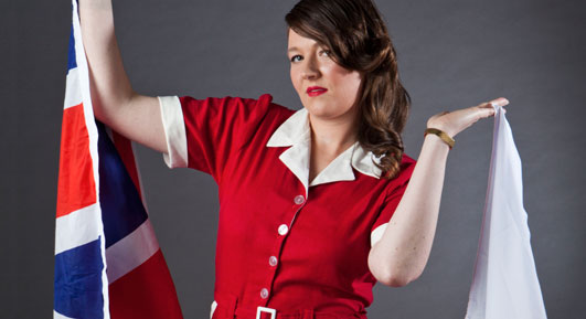 Katy with British and Polish flags