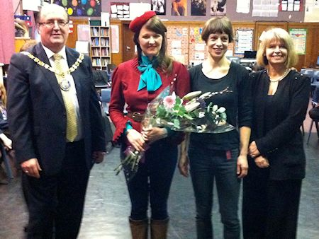Harriett Baldwin visits Pershore High School to mark Holocaust Memorial Day with performance by singer Katy Carr