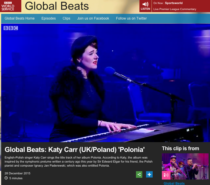 Global Beats: Katy Carr (UK/Poland) 'Polonia' English-Polish singer Katy Carr sings the title track of her album Polonia. According to Katy, the album was inspired by the symphonic prelume written a century ago this year by Sir Edward Elgar for his friend, the Polish pianist and composer Ignacy Jan Paderewski, which was also entitled Polonia.
