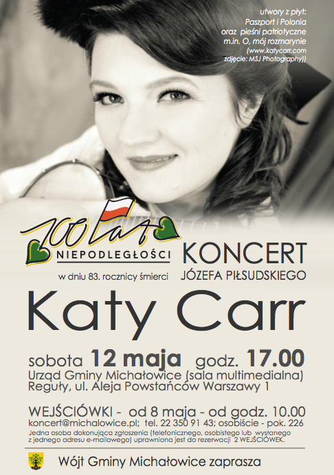 Katy Carr concert 17:00 in Michałowice, Warsaw , Poland